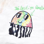 Die lustige Qualle - Filzstift, Buntstift auf Papier, 2019