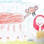 Das Mammut und ich, Julia - Filzstift, Buntstift, Bleistift auf Papier, 2019
