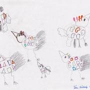 Fantasievögel, Tim - Bleistift und Filzstift auf Papier, 2018
