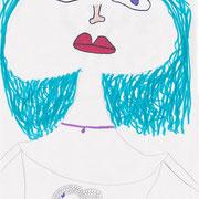 Selbstportrait, Leonie - Bleistift und Filzstift auf Papier, 2018