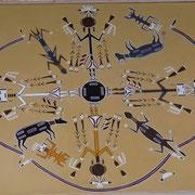 """Peinture des Sables Navajo - """"Voie de la Plume""""- 50X60cm"""