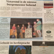 """on the TEDx stage after my talk, presenting 1000 origami cranes as an art by the people of community to the municipality """"GooiseMeren"""""""