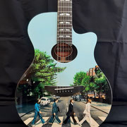 "Davide Ricchetti: ""Abbey Raod guitar"", airbrush on acoustic guitar (Yamaha J45), 2020"