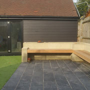 bench and garage