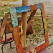 Espace des usagers du CPA de l'AIn : cadre palettes et peinture à l'oeuf