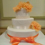 pastel boda coral naranja