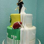 pastel boda duo futboll americano green bay