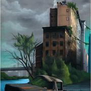 """116x89 cm. Acrylic and spray paint on canvas. """"Le dernier d'entre nous"""" 2014. Sold. Digital print available."""
