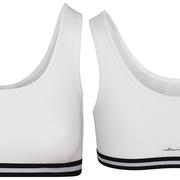 Bustier in 92% bio-katoen met 8% elastaan, wit met boord in zwart/wit, Comazo Earth, beschikbaar in de maat 44, prijs: 16,95 €