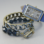 П-1576. Комплект от американского дизайнера HEIDI DAUS. Часы и 2 браслета. Ювелирный бронзированный сплав, кристаллы Сваровски.
