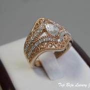 П-1049.Дизайнерское кольцо с натуральными бриллиантами и топазом. Серебро 925 с розовой позолотой, филигрань. ПОВТОР ПОД ЗАКАЗ