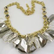 """П-1450. Ультра модное колье """"Осколки льда"""" от американского дизайнера Кеннет Джей Лэйна. Ювелирный сплав з позолотой, кристаллы неправильной формы в алмазной огранке, декор камнями Сваровски."""