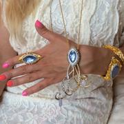 П-1500.Украшения из новой коллекции весна-лето 2014 от вcемирно известного ювелира Alexis Bittar. Все капельки на кольце подвижные. Позолота 24К, натуральные камни: амазонит,лунный камень,кристаллы Swarovski.