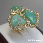 П-1247. Коктейльное кольцо от вcемирно известного ювелира Алекса Биттара. Позолота 24К, камни зеленого хризопраза. Полностью ручная работа, клеймо дизайнера.