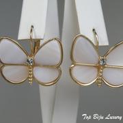 """П-1537. Серьги """"Бабочки"""" от американского дизайнера . Натуральный перламутр, ювелирный сплав под золото."""