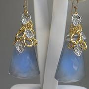 П-1199. Серьги от вcемирно известного ювелира Алекса Биттара. Позолота 24К, драгоценные камни, камни Swarovski. Полностью ручная работа, клеймо дизайнера.