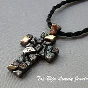 П-827.Кулон крест из серебра 925, авторская ручная работа американского дизайнера Алана К, ручное напыление медью и латунью, разноцветные камни циркония. Повтор под заказ