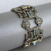 """П-1324.Браслет """"Rome"""" от дизайнера Хэйди Даус. Бронзированный ювелирный сплав, декор CRYSTALLIZED™-Swarovski Elements. Ширина 4см. Ручная работа, авторский дизайн."""