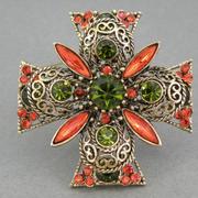П-1438. Винтажный коллекционный мальтийский крест от компании Emmons. Ювелирный сплав под античное золото, филигранная литая форма, австрийские кристаллы, многоярусный дизайн. Размер 5.5см.