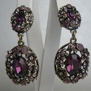 П-1536. Нарядные серьги от американского дизайнера Хэйди Даус. Декор кристаллами Сваровски, ювелирный бронзированный сплав.