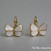 """П-991A.Дизайнерское американские серьги  """"Бабочки"""" от Кэйт Спэйд. Позолота 24К, натуральный перламутр, камни Сваровски. ПОВТОР ПОД ЗАКА"""