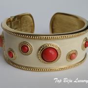 П-935. Дизайнерский браслет от Кеннет Лэйна. Позолота 24К, авторская эмаль, декор кабошонами. Ручная работа, клеймо дизайнера.