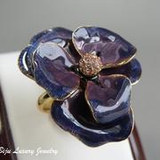 """П-1154. Кольцо """"Анютка"""" от Кеннет Лэйна. Позолота 24К, декор эмалью,камнями Сваровски, ручная работа. В наличии разные цвета"""