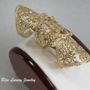 П-1014Дизайнерское филигранное кольцо на весь палец. Ювелирный сплав с позолотой 18К, камни Swarovski.ПОВТОР ПОД ЗАКАЗ