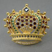 П-1418. Стильная дизайнерская брошь от Кеннета Джей Лейна. Ювелирный сплав с позолотой 24К,разноцветные кристаллы Сваровски. Такая брошь была в коллекции у Майкла Джексона.Размер-4.5 см