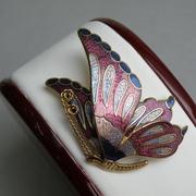 П-1492.Винтажная брошь Бабочка. Новая, ювелирный сплав под золото, эмали, знак авторского права. Диаметр 5см.