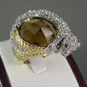 """П-1375. Дизайнерское кольцо """"Пантера"""". Ювелирныйн сплав под золото и серебро, декор кристаллами Сваровски."""