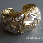 """П-919.  стильный браслет """"Kристалл"""" от Кеннет Джей Лэйна. Позолота 22К, ручная работа, авторское клеймо, камни Сваровски в сложной огранке.ПОВТОР ПОД ЗАКАЗ"""