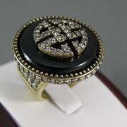 """П-1539. Кольцо """"Black Onyx"""" от дизайнера Хэйди Даус. Бронзированный ювелирный сплав, декор CRYSTALLIZED™-Swarovski Elements, натуральный черный оникс Рзмер 17.5 Ручная работа, авторский дизайн."""