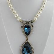 """П-1051.Колье """"Royal Treasure"""" от Хейди Даус. Лимитированная линия в 200 единиц, кристалл Монтана в алмазной огранке- оттенок натурального сапфира, декор элементами Сваровски, бронзированный сплав.ПОВТОР ПОД ЗАКАЗ"""