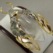 """П-1467. Брошь """"Scurub"""" от вcемирно известного ювелира Alexis Bittar. Позолота 24К, драгоценные камни, люцит, камни Swarovski. Полностью ручная работа, клеймо дизайнера."""