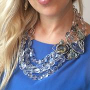 П-1474. Роскошное колье из новой коллекции весна-лето 2014 от вcемирно известного ювелира Alexis Bittar. Позолота 24К, натуральные полудрагоценные камни кварца, горного хрусталя, лабрадорита, халцедона, кристаллы Swarovski