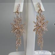 П-1050. Дизайнерские серьги в ювелирном сплаве с розовым золотом, декор кристаллами Сваровски. Длина 7см. ПОВТОР ПОД ЗАКАЗ