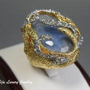 П-1200. Коктейльное кольцо от вcемирно известного ювелира Алекса Биттара. Позолота 24К, камни Swarovski. Полностью ручная работа, клеймо дизайнера.