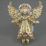 """П-1417. Брошь """"Ангел Хранитель"""" от американского дизайнера Боба Макки. Очень красивый нежный ангел будет всегда радовать свою хозяйку.Размер 7.5х5.5см.Ювелирный сплав под золото, эмаль."""