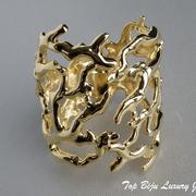 """П-956. Стильный широкий браслет """"Коралловый риф"""" от американского дизайнера Кеннет Джей Лэйна. Ювелирный сплав с 24К позолотой. В наличии в красном, белом, золотом цвете.ПОВТОР ПОД ЗАКАЗ"""