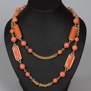 """П-1130. Oжерелье """"Оранжевая геометрия"""", Kenneth Jay Lane. 110см. Сплав металлов, позолота 18К, ювелирный акрил, ювелирное стекло, ручная работа, клеймо автора, США."""