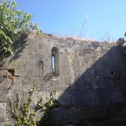 San Pietru : Détail du mur latéral nord vu depuis l'intérieur de la nef (Patrimoniu - Haute-Corse)