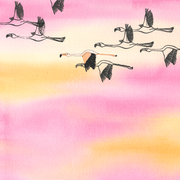 'The flying flamingos'. Aquarel + 2 stempels + acrylverf.