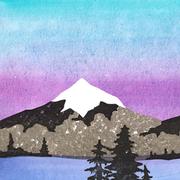 'Mountains, part 1'. Illustratie voor een geboortekaartje. Gouache + twee kleurige linosnede + stempels.