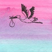 'Stork'. Gouache + linosnede.