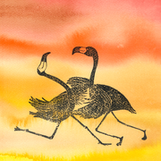 'The dancing flamingos'. Aquarel + linosnede.