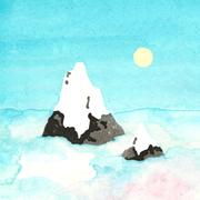 'Bergtop'. Illustratie voor een geboortekaartje. Aquarel + tweekleurige linosnede + computer.