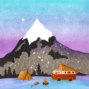 'Mountains, part 2'. Illustratie voor een geboortekaartje. Gouache + twee kleurige linosnede + stempels + acrylverf.