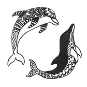 'Happy dolphins'. Linosnede.