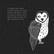 'Mistig'. Gedichtje + linosnede.